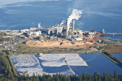 Paper Pulp Mill. Aerial view of a productive paper mill processing wood chips and recyclable materials stock image