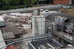 Paper and pulp mill. In this paper mill waste paper is used to produce cardboard stock photo