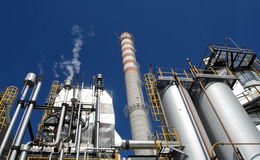 Paper and pulp mill - Cogeneration power plants royalty free stock image