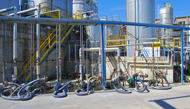 Paper and pulp mill - Outdoor. Paper and pulp mill. In this plant all the fibrous raw material is produced by two de–inking plants that recycle waste royalty free stock photo