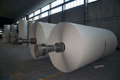 Paper and pulp mill plant - Rolls of cardboard stock photos