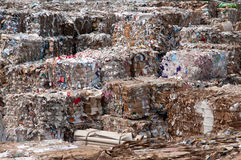 Paper and pulp mill - Waste paper. Waste paper recycling in paper mill. This paper mill is a factory devoted to making paper and cardboard from recycled paper royalty free stock images