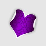 Paper purple heart. Bent paper heart with purple abstract picture Stock Photo