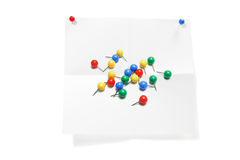 Paper with Pushpins Royalty Free Stock Image