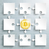 Paper Puzzles Bitcoin Coin. Paper puzzles with golden bitcoin coin on the gray background Royalty Free Stock Photos
