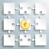 Paper Puzzles Ethereum Coin. Paper puzzles with golden ethereum coin on the gray background Royalty Free Stock Images