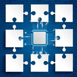 Paper Puzzles Microchip. Paper puzzles pieces with microchip on the blue background Royalty Free Stock Image