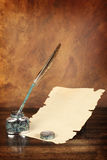 Paper and quill Stock Photography