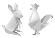 Paper_rabbit_and_rooster. Illustration of folded paper models, rabbit and rooster on white background, Vector illustration Royalty Free Stock Image
