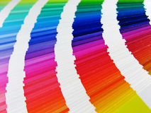Paper rainbow. Landscape photo of a spread of colour samples stock photo