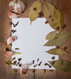 Paper for recipes and spices Stock Images