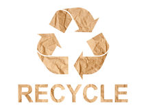 Paper Recycle Symbol. Recycle symbol made of crumpled paper on white background Royalty Free Stock Photography