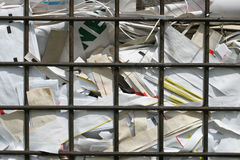 Paper Recycling 2. This is a closeup shot of paper for recycling in big old metal basket Royalty Free Stock Photos