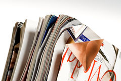 Paper for recycling. Detail of crumpled magazines to be recycled royalty free stock image