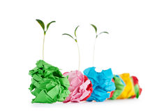 Paper recycling concept - seedlings on white Stock Photos
