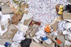 A paper recycling container. Inside of a paper recycling container Royalty Free Stock Images