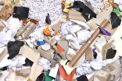 Of a paper recycling container. Inside of a paper recycling container Stock Photo