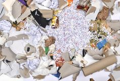 A paper recycling container. Inside of a paper recycling container Royalty Free Stock Photo