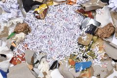 Of a paper recycling container. Inside of a paper recycling container Stock Photos