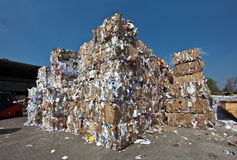 Paper recycling depot. Old paper on a recycling depot Royalty Free Stock Photos