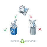 Paper recycling separation bins. Paper recycling separation waste bins. Simplified scheme illustration in cartoon style of paper waste sorting in two baskets Stock Photo