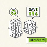 Paper recycling vector illustration. Big stacks of papers with recycle sign graphic design. Ecological paper recycling creative concept Stock Photos