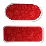 Paper red Christmas stickers - labels for advertising Stock Photos