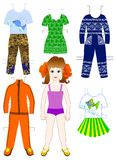 Paper red-haired doll with a set of clothe. S for warm and cool weather Stock Photography