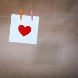 Paper with a red heart Stock Photo