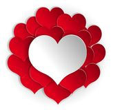 Paper red hearts background with white heart Stock Images