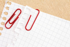 Paper with red paper clip Royalty Free Stock Photo