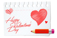 Paper with red pencil and valentines wish Royalty Free Stock Image