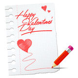 Paper with red pencil and valentines wish Stock Images