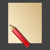 Paper and Red Pencil. Vector Stock Photo