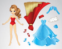 Paper Red Princess Doll. Vector illustration of princess paper doll and set of red and blue clothes Stock Image