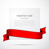 Paper with red ribbon Stock Image