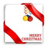 Paper with red ribbons and Christmas bulbs Stock Images