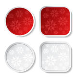 Paper red and white Christmas stickers Stock Image