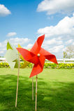 Paper of red windmill the decorations in beautiful garden Royalty Free Stock Image