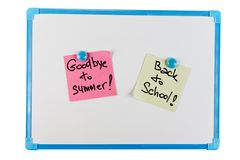 Paper reminder on a plastic board. Paper reminder on a white plastic board Royalty Free Stock Images