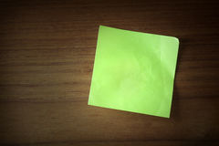 Paper reminders on wood Stock Photo
