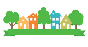 Paper residential  buildings logo. Royalty Free Stock Images