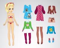 Paper Retro Autum Blonde Doll Stock Image