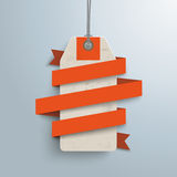 Paper Ribbon Price Sticker. Orange paper ribbon with price sticker on the gray background Royalty Free Stock Photo
