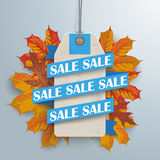 Paper Ribbon Price Sticker Sale Autumn Stock Image