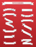 Paper Ribbons. Set of white paper ribbons vector illustration Royalty Free Stock Photos