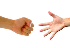Paper Rock Scissors Hand Game Stock Photos
