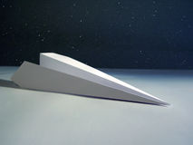 Paper rocket. Origami rocket in outer space stock photo