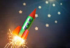 Paper rocket model Royalty Free Stock Photography