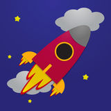 Paper rocket on night sky background Royalty Free Stock Photos